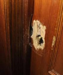 Puerta dañada en Robo Escudo de seguridad arrancado.